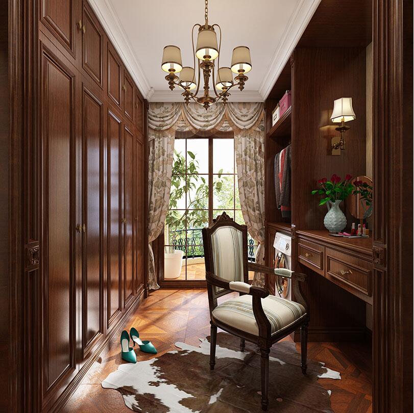 安阳自建别墅430平美式乡村装修案例——一楼卧室效果图
